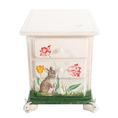 Hand Painted Bunny Rabbit Themed Night Stand, Late 20th Century