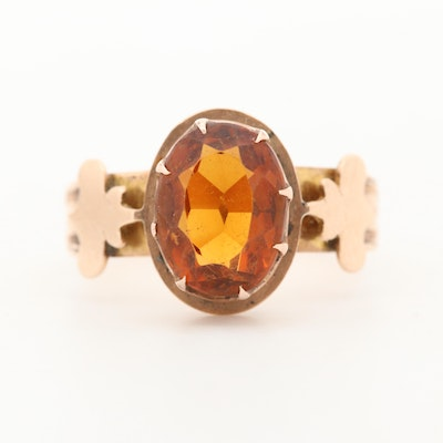 Victorian 14K Rose Gold Citrine Ring