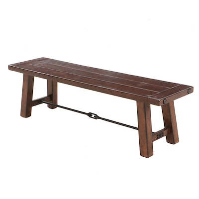 Distressed Mahogany Finished Bench, Contemporary