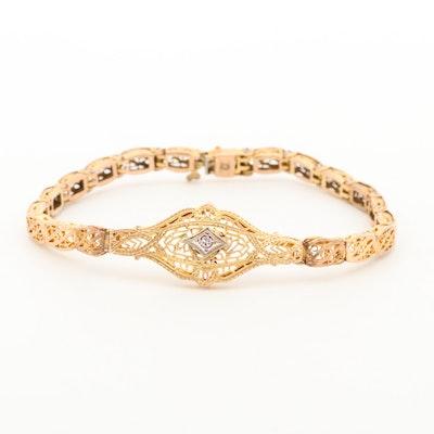 Vintage 10K Yellow Gold Diamond Filigree Bracelet