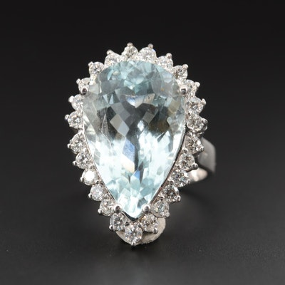 14K White Gold 11.80 CT Aquamarine and 1.00 CTW Diamond Ring