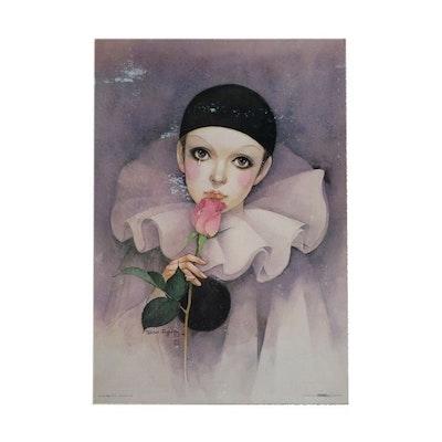 "Offset Lithograph after Mira Fujita ""Rose, Pierrot Love"""