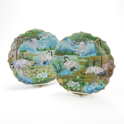 Chinese Cloisonné Scalloped Edge Plates
