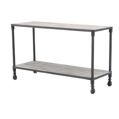 Weathered Finished Tiered Table on Casters, Contemporary
