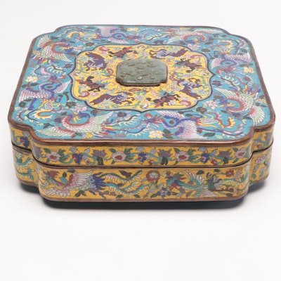 Chinese Cloisonné Box with Carved Stone Finial, Republic Period