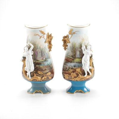 Belgian Figural Porcelain Vases, Early 20th Century