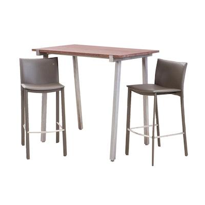 Mahogany Bar Height Table and Two Stools, Contemporary