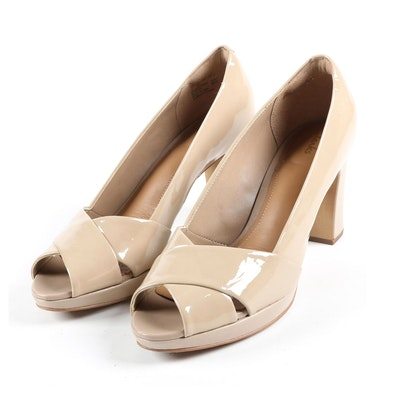 Clarks Artisan Cross Strap Open Toe Pumps in Nude Patent Leather