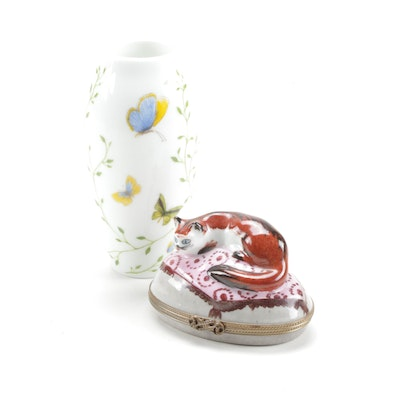 Raynaud Butterfly Porcelain Vase with Reclining Cat Limoges Box