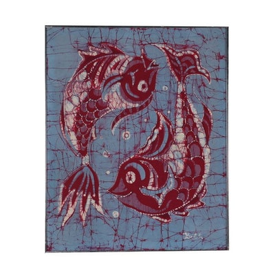 Koi Fish Batik Panel