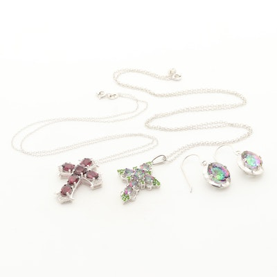 Sterling Cross Necklaces and Earrings with Garnet, Diopside and White Topaz