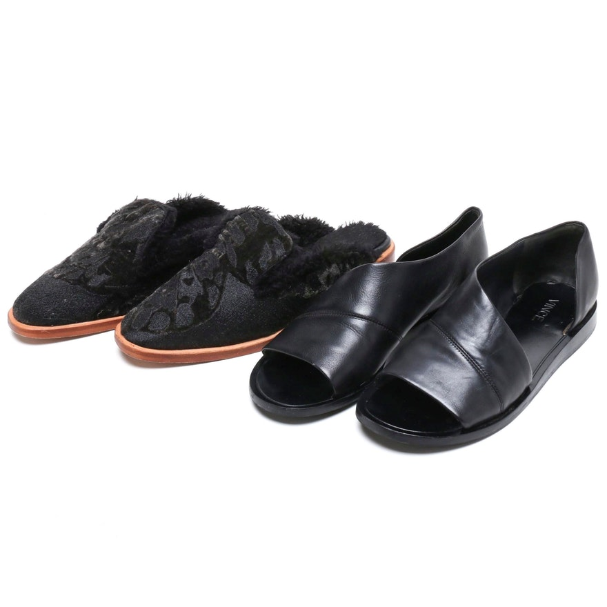 Vince Black Leather Tabitha Flat and Free People Mules