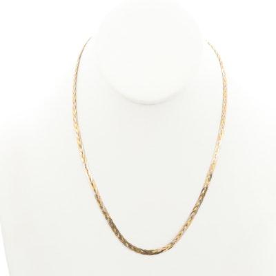 14K Yellow, White and Rose Gold Braided Herringbone Chain Necklace
