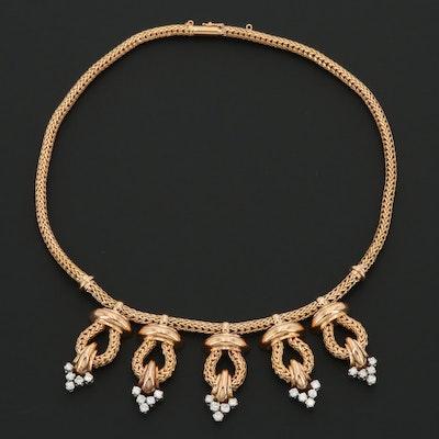 1940s Retro 18K Rose Gold 2.24 CTW Diamond Fringe Necklace with Platinum Accents