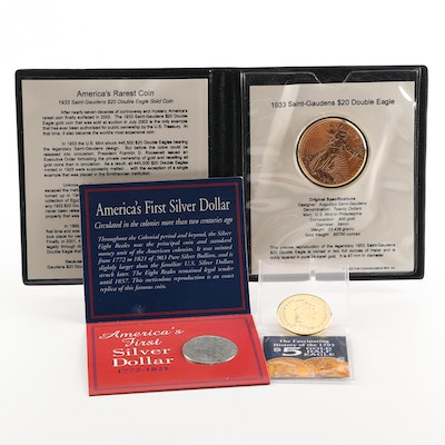 Replica Coin Grouping Featuring 1933 Saint-Gaudens $20 Double Eagle Reproduction