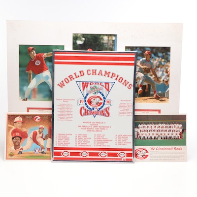 "1990 Cincinnati Reds Memorabilia Including ""World Champs"" Framed Display"