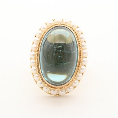 14K Yellow Gold 20.08 CT Blue Tourmaline and Cultured Pearl Ring