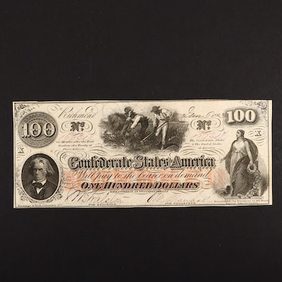 T-41 $100 Confederate States of America Obsolete Currency Note