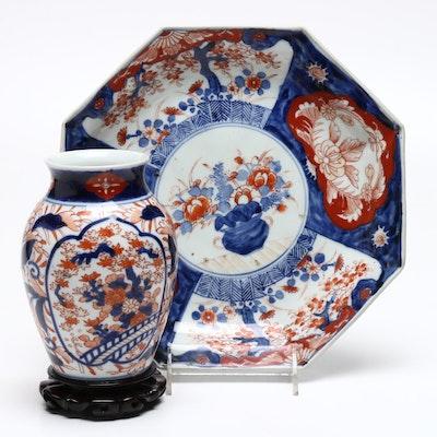 Japanese Imari Plate and Vase, Meiji Period