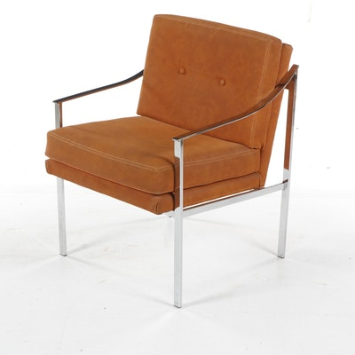 Mid-Century Modern Chrome Armchair in the Style of Milo Baughman