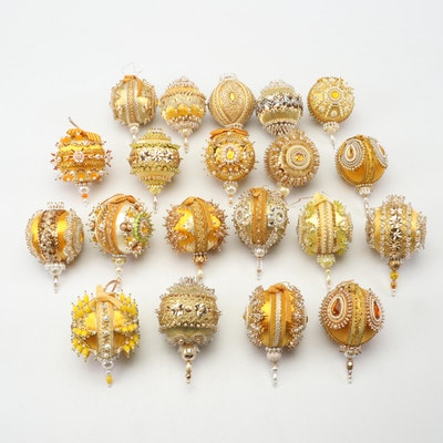 Handmade Victorian Style Beaded Sequin Christmas Ornaments, 1960s