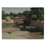 Edmond Fitzgerald Oil Painting of Boat Dock Scene