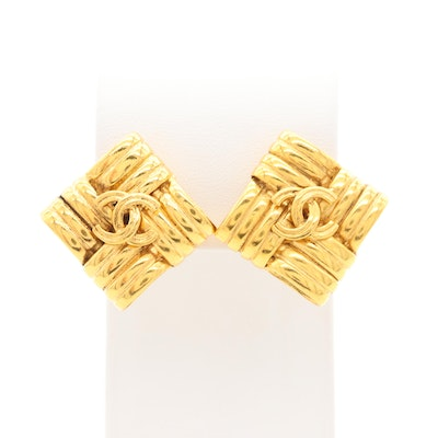 Vintage Chanel Woven Square Clip-On Earrings