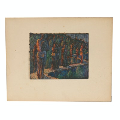 Robert Whitmore Pastel Drawing of Abstract Figural Landscape