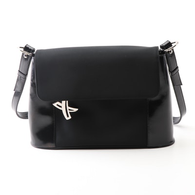 By Paloma Picasso Black Patent Leather and Nylon Shoulder Bag