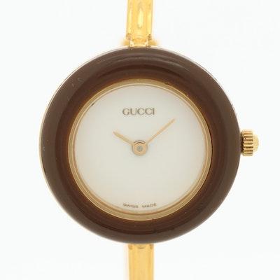 Gucci Gold Plated Bangle Style Quartz Wristwatch