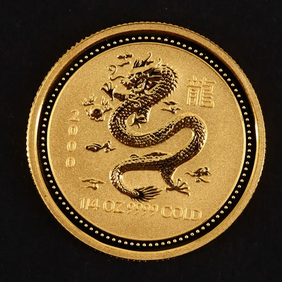 2000 Australia $25 Year of the Dragon 1/4 Ounce .999 Gold Coin