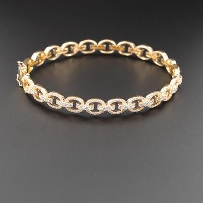 18K Yellow Gold, 1.57 CTW Diamond, Chain Link Hinged Bangle Bracelet