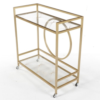 Modern Art Deco Style Gold Tone Metal Bar Cart