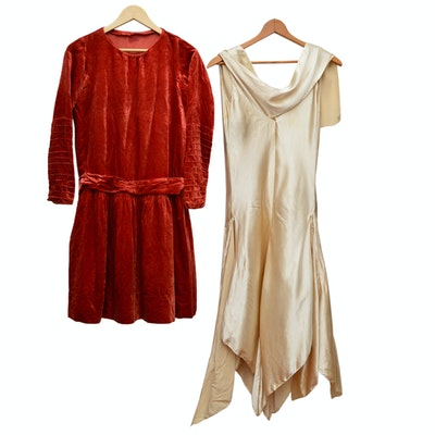 Silk Velvet Dress and Silk Charmeuse Dress, 1920s Vintage
