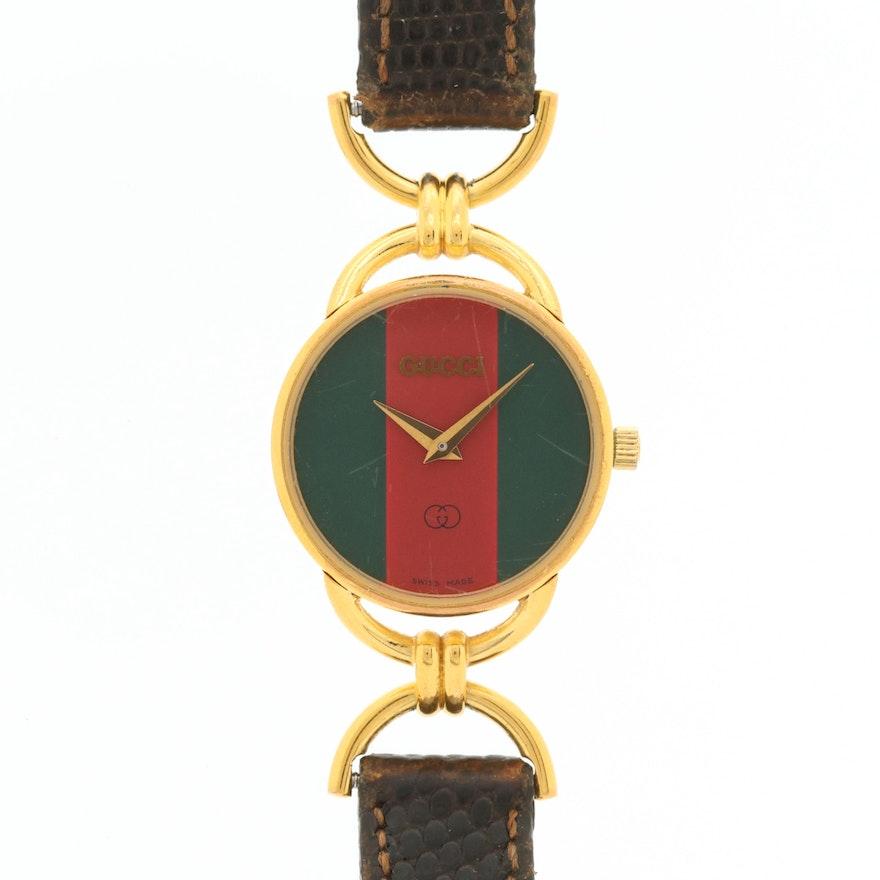 Vintage Gucci 6000L Gold Tone Quartz Wristwatch