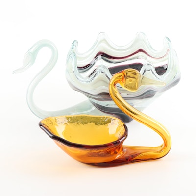 Art Glass Swan Dishes