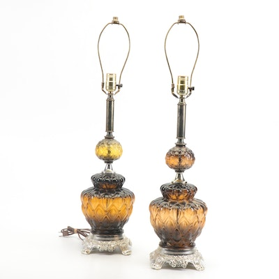Pair of Mid-Century Painted Glass Lamps