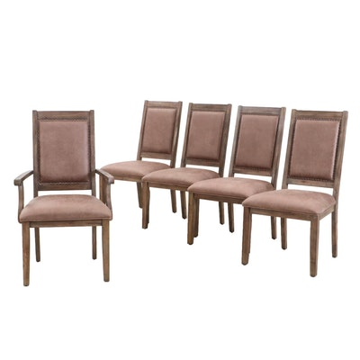 Set of Five Weathered Framed Dining Chairs, Contemporary