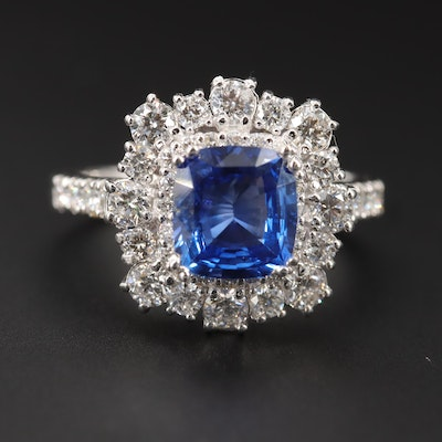 14K White Gold 1.87 CT Sapphire and 1.24 CTW Diamond Ring