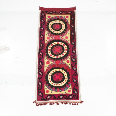 Hand-Embroidered Floral Indian Tapestry