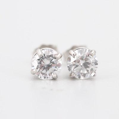 Platinum 1.24 CTW Diamond Stud Earrings