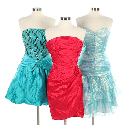 Trio of Cocktail Dresses Including Jessica McClintock, 1980s