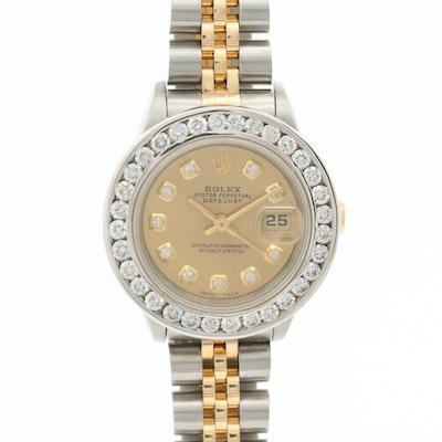 Rolex Datejust 18K and Stainless Steel 1.70 CTW Diamond Wristwatch and 14K Bezel