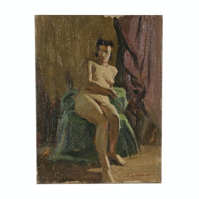 Edmond Fitzgerald Nude Figural Oil Painting