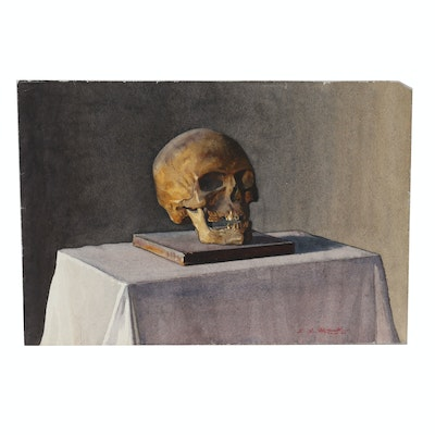 Edmond Fitzgerald Watercolor Painting of Vanitas Still Life with Skull