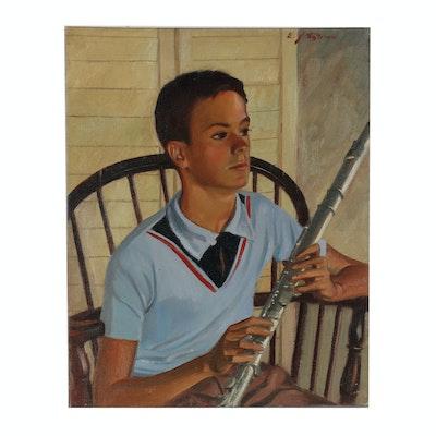 """Edmond Fitzgerald Oil Portrait """"Boy with Flute"""""""