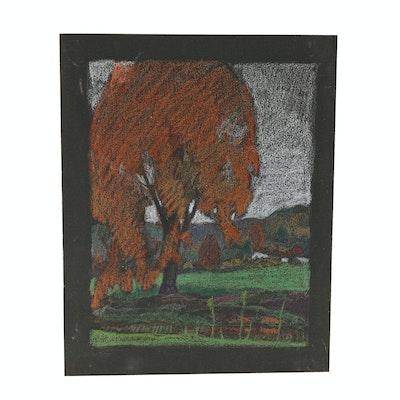 Robert Whitmore Pastel Drawing of Autumnal Landscape