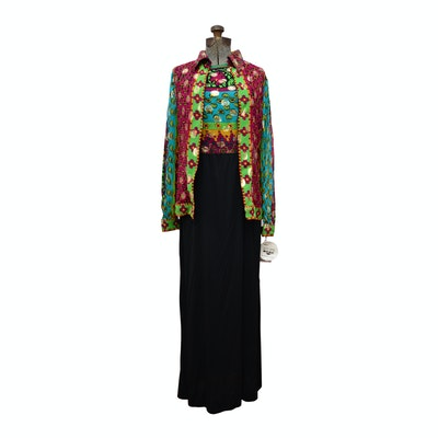 Carriage Trade Maxi Dress with Jacket, 1970s Vintage
