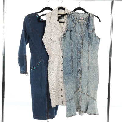 Michael Hoban North Beach Leather Dress with Pair of Denim Dresses, Vintage