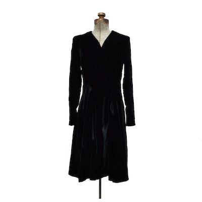Black Velvet Dress, 1950s Vintage